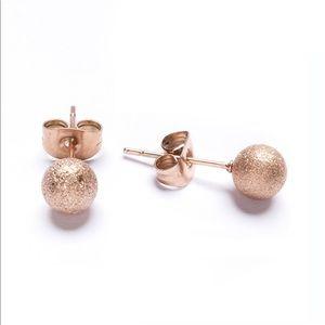 Fossil Stud Ball Rose Gold Earrings